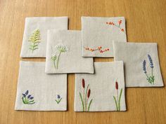 coasters made from my original pincushion embroidery designs. a recent custom request. i really like the way these turned out!