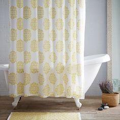 Scroll Medallion Shower Curtain - Citron the colors. Be great in the girl's bathroom as an accent color. Furniture Sale, Bathroom Furniture, Modern Furniture, Modern Shower Curtains, Fabric Shower Curtains, Guest Bathrooms, Upstairs Bathrooms, Beach Theme Bathroom, Bathroom Ideas