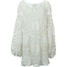 Chloé Crochet Dress (62.087.570 VND) ❤ liked on Polyvore featuring dresses, white, crochet dress, cotton dress, long sleeve v neck dress, long sleeve short dress and long sleeve dress