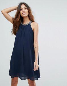 #Valentines #AdoreWe #ASOS - #Vero Moda Vero Moda Embellished Neck Shift Dress - Navy - AdoreWe.com