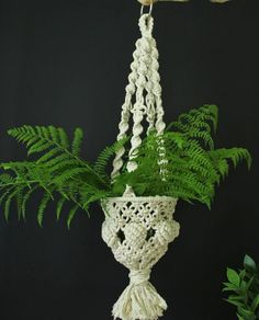 Items similar to Macrame plant hanger. Eco friendly home decor. Fruit basket for kitchen decor. on Etsy Macrame Design, Macrame Art, Eco Friendly House, Macrame Tutorial, Mid Century Decor, Macrame Patterns, Hanging Planters, Crafts To Do, Sewing Crafts