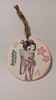 Ornament made of ceramic bisque using Geisha Kaylee