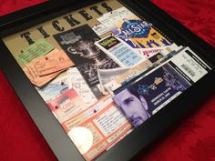 A shadow box idea for all those saved event tickets and Playbills!