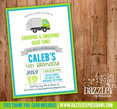 Printable Modern Garbage Truck Birthday Invitation | Boy Birthday Party Idea | Trash | Dump Truck | FREE thank you card included | DIY | Digital File | Matching Party Package Available! Banner | Cupcake Toppers | Favor Tag | Food and Drink Labels | Signs | Candy Bar Wrapper | www.dazzleexpressions.com