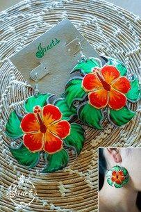 Coconut Earring JIWE81 - Painted Flower