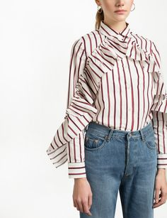 White Ruffled Sleeve Striped Shirt