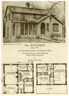 American eclectic style - The Wanaque - 1927 Brick Homes of Lasting Charm. I love this First Floor Floor Plan. I'd turn the Dining Room into the Bathroom. The Stairway can be the Hallway. Detail Architecture, Vintage Architecture, Architecture Plan, Sims House Plans, Small House Plans, House Floor Plans, Bungalow Floor Plans, Cottage Floor Plans, The Plan