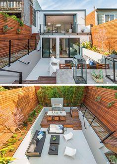 Idéias de design quintal - Ao projetar seu quintal, não importa quão grande ou pequeno, é importante ter áreas claramente definidas, e uma maneira que você pode criar isso, é usando altura ou níveis diferentes.  Este quintal usa diferentes níveis para criar espaço para a sala de jantar ao ar livre e sala de estar ao ar livre.