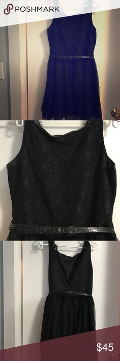 Black high neck low back dress with tule skirt Vera Wang black dress. High neck with front lace and deep V back with eyelet lace trim and with a tule skirt. Comes with a black sparkle skinny belt Vera Wang Dresses Backless
