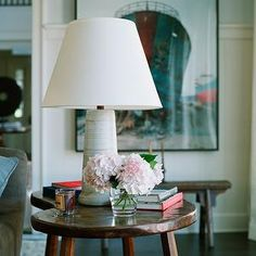 Love This Rustic Kidney Shaped End Table and The Artwork Behind