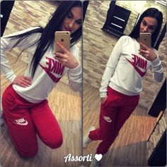 #pants #shirt #nike Stylish women's red and milky sweatsuit
