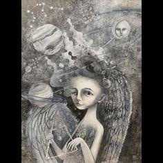 """Olya Anima Illustration on Instagram: """"Привет, друзья! Как поживаете? Как зимуется? Я в последние месяцы плотно подсела на всякого рода астрологические видео 🌌 Там стоооолько…"""" Air Signs, Earth Signs, Winter Solstice, Sign Printing, Pigment Ink, See Picture, All Print, Aquarius, Giclee Print"""