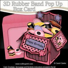 **NEW TEMPLATE** - 3D Rubber Band Pop Up Box Card Tutorial - www.craftforums.co.uk