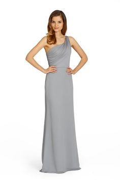 Grey one shoulder bridesmaid dress from Jim Hjelm Occasions
