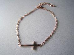 sideways cross braceletrose gold cross by HappyLaurajewelry, $17.00