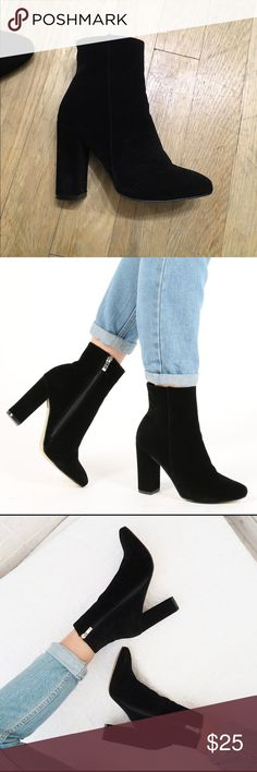 Public Desire Presley Ankle Boots - Black Suede Black suede booties - only worn once Public Desire Shoes Ankle Boots & Booties