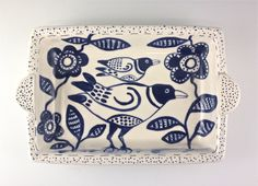 Decorative Ceramic serving Dish,Ready to Ship, Tray, Baking Dish, Bird Design by tilebyfire on Etsy https://www.etsy.com/listing/262419842/decorative-ceramic-serving-dishready-to