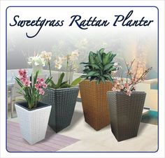 Sweetgrass Faux Rattan Planters Available in 3 sizes and 4 colors (black, brown, tan, and white) Rattan Planters, Planter Pots, Garden Landscaping, Gardening, Landscape, Brown, Colors, Plants, Black