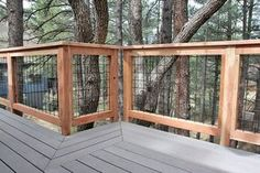 Wild Hog brand welded wire metal railing installed around a deck in Flagstaff Arizona