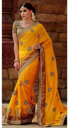 Yellow color Wedding Saree-Silk Party Wear - Saree