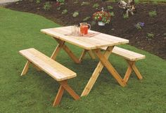 Amish Cedar Wood Crossleg Table with Benches Patio Set Fire up the grill for some fun outside. Traditional style wood table and benches. Casual comfort for everyone!