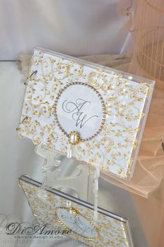 Guest Book Champagne Gold Tan Beige Ivory Signature Signing Pen Vintage Style Lace Crystals Pearls Elegant Wedding Pinterest Sets