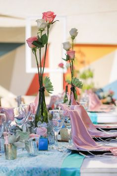 Pink and Aqua are a great combination of colors for your Patio Terrace reception #DreamsSandsCancun #Mexico #Destinationwedding
