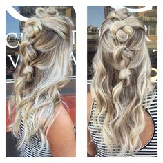 Knotted braid updo balayage style boho hair ice blonde