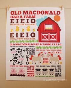 Kids art print, 16 x 20, Old MacDonald Nursery Rhyme poster. $33.00, via Etsy.
