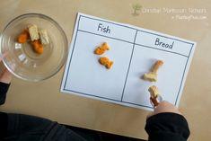 Montessori Inspired Kids Bible Activities - Jesus Feeds 5000 Fish Bread Sorting Activity
