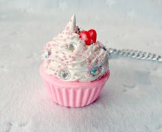 Kawaii Cupcake Charm Necklace, Strawberry :).  via Etsy.