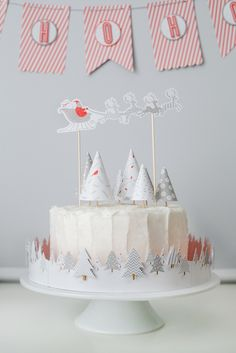 Santa Cake Toppers - Merry and Bright Christmas Party Paper Craft Collection | Kim Byers