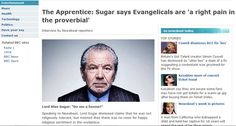 """Sugar says evangelicals are """"a right pain in the proverbial"""""""