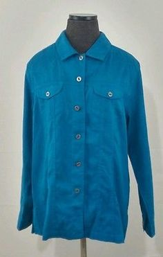 Chico's size 2 jacket Cyan 100% Polyester
