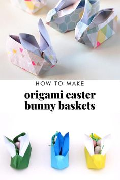 Looking for a cute origami bunny? Learn how to make these Easter Origami Bunny Baskets. These cute paper bunnies make the perfect table setting. Fill with chocolate eggs and scatter across the table for a sweet treat for your guests. Diy Origami Hase, Bunny Origami, Cute Origami, Paper Crafts Origami, Origami Easy, How To Origami, Easy Origami Animals, Origami Table, Origami Bowl