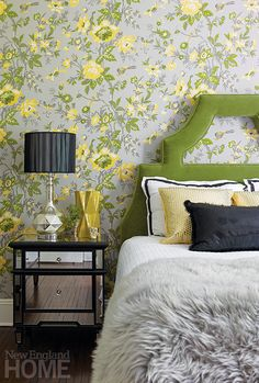 Sinkin nabbed the stylish guestroom bed on Wayfair. Mirrored nightstands heighten the room's appeal. Project Team Interior design: Andrea Sinkin, Andrea Sinkin Design Photography by Michael Partenio Produced by Stacy Kunstel. Mirrored Nightstand, Nightstands, Bedside, Crushed Velvet Sofa, Modern Headboard, Chinoiserie Wallpaper, New England Homes, House And Home Magazine, Bedroom Wall