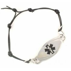 Free Medical Bracelets for Women | Black Knots Leather Medical Bracelets w/Wave ID | N-Style ID