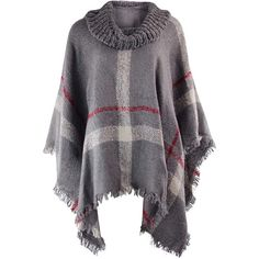 Gray Brushed Plaid Sweater Knit Turtleneck Poncho ($45) ❤ liked on Polyvore featuring outerwear, chunky knit turtleneck, knit poncho, tartan poncho, grey turtleneck and plaid ponchos