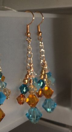 Triple Dangle Blue and Gold Crystal Earrings with Copper and Silver