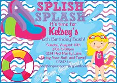 Splish Splash Pool Party Invitation  Pool Party by PamperYourParty, $10.00