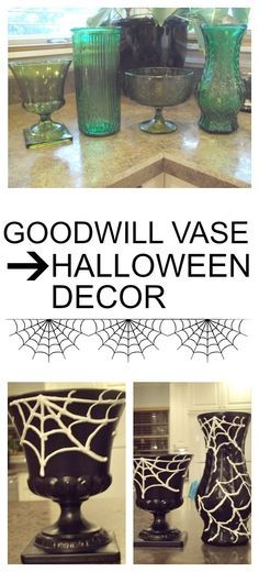 She draws her design on a Dollar Store vase, but wait until you see - halloween decorations for sale