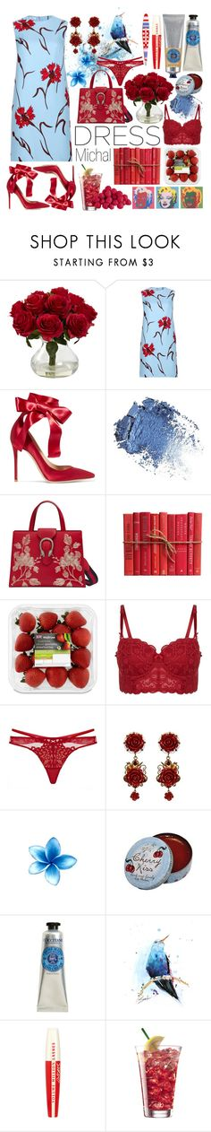 """Dreamy Dresses 2"" by michal100-15-4 ❤ liked on Polyvore featuring Nearly Natural, Miu Miu, Gianvito Rossi, Gucci, Dita Von Teese, Dolce&Gabbana, Andy Warhol, CO, L'Occitane and L'Oréal Paris"