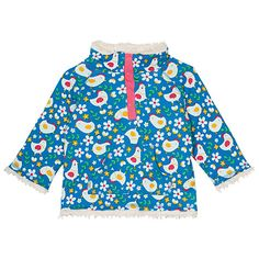 Frugi Organic Baby Chick Reversible Snuggle Fleece, Blue/White Online at johnlewis.com