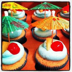 luau cupcakes- maybe a strawberry instead of a cherry.
