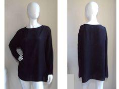 Harari Neiman Marcus Easy Breezy Modern Luxe Silk Black Art to Wear Tunic Top L | eBay