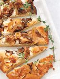 Mushroom, Goat Cheese and Caramelized-Shallot Pizza.  I like to add a little truffle oil to jazz it up!