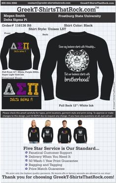 Delta Sigma Pi T-Shirts That Rock 116136proofR6 ...................................................  WORK 1 ON 1 with a member of our design team until your T-Shirt idea is perfect.... and ALWAYS get them on in time (or before you even need them) at the price you want!  ...................................................  Just click this design, it will take you to our website where you can  upload your ideas and get everything started!
