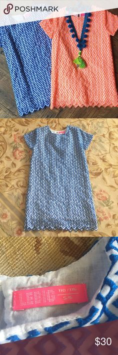 Lebig girls dress, 5/6 ADORABLE graphic embroidered shift dress. Zig-zag hem to match embroidered pattern.  Like new. Lebig Dresses Casual