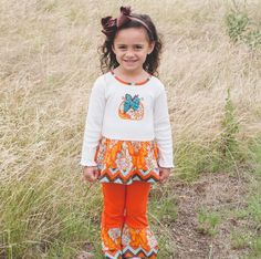 Little Girls Pumpkin Patch Thanksgiving Clothing Set