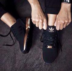 Black & gold adidas zflux